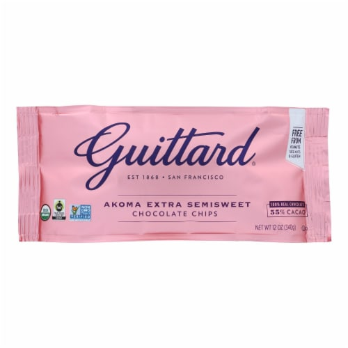Guittard Chocolate Chips - Akoma Extra Semi Sweet - Case of 12 - 12 oz. Perspective: front