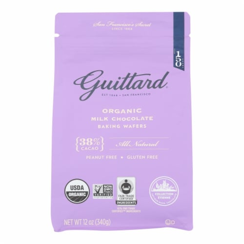 Guittard Chocolate Baking Wafers - Organic - 38% Milk - Case of 8 - 12 oz Perspective: front