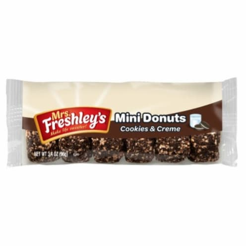 Mrs Freshleys Cookies and Creme Mini Donut, 3.4 Ounce -- 72 per case. Perspective: front