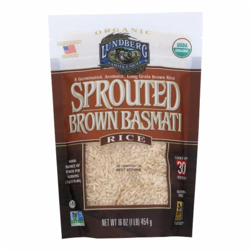 Lundberg Family Farms Sprouted Brown Basmati Rice - Case of 6 - 1 lb. Perspective: front