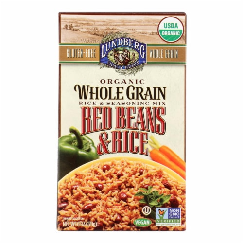 Lundberg Family Farms Organic Whole Grain Red Beans and Rice - Case of 6 - 6 oz. Perspective: front