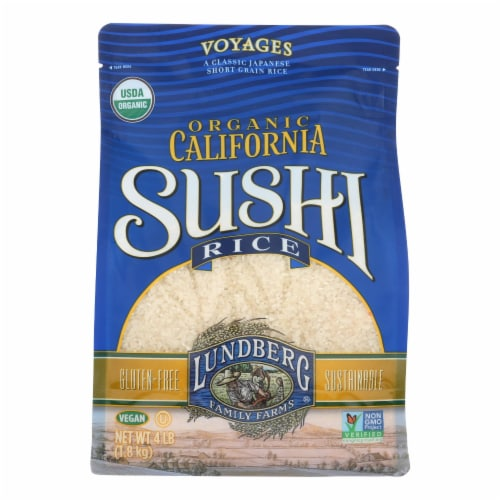 Lundberg Family Farms Organic White Sushi Rice  - Case of 6 - 4 LB Perspective: front
