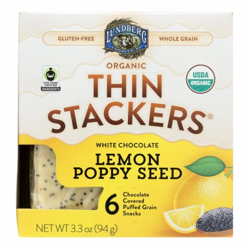 Lundberg Family Farms - Stackers White Chocolate Lemon - Case of 6 - 3.3 OZ Perspective: front