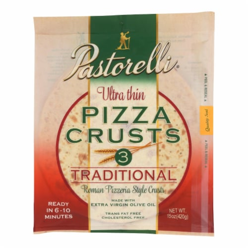 Pastorelli Pizza Crust - Ultra Thin - White - Case of 10 - 15 oz Perspective: front