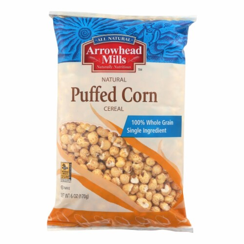 Arrowhead Mills - All Natural Puffed Corn Cereal - Case of 12 - 6 oz. Perspective: front