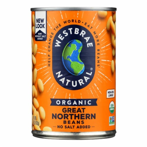 Westbrae Foods Organic Great Northern Beans - Case of 12 - 15 oz. Perspective: front