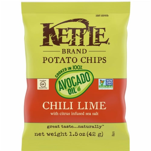 Kettle Foods Avocado Oil Chili Lime Potato Chips, 1.5 Ounce -- 6 per case. Perspective: front