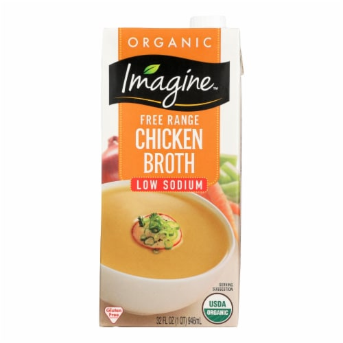 Imagine Foods Chicken Broth - Low Sodium - Case of 12 - 32 Fl oz. Perspective: front