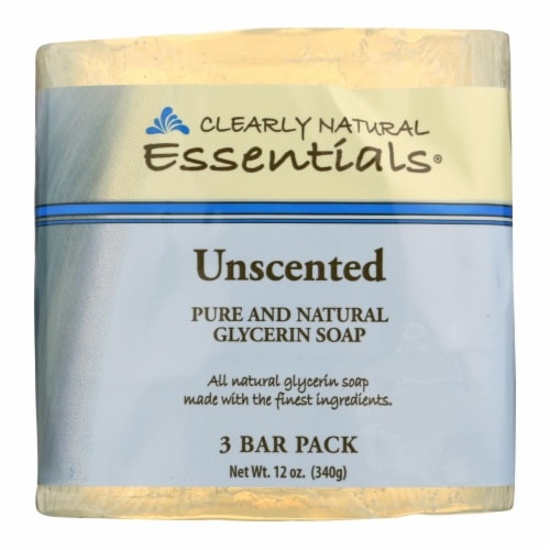 Clearly Natural Bar Soap - Unscented - 3 Pack - 4 oz Perspective: front