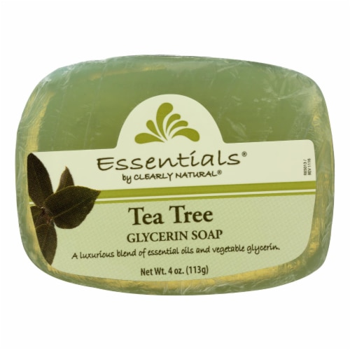 Clearly Natural Glycerin Bar Soap - Tea Tree - 4 oz Perspective: front