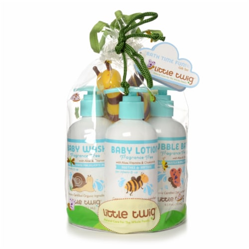 Little Twig- GIFTBAG Fragrance Free 3pk Baby Wash, Bubble Bath & Baby Lotion w/Toy Perspective: front