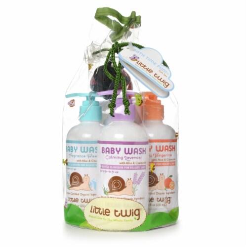 Little Twig- Baby Wash Essentials 3 8.5 fl.oz . w/washcloth Fragrance Free/Lavender/Tangerine Perspective: front