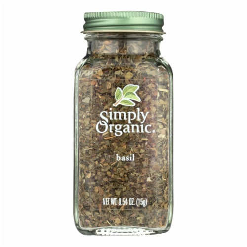 Simply Organic Basil Leaf - Organic - Sweet .54 oz Perspective: front