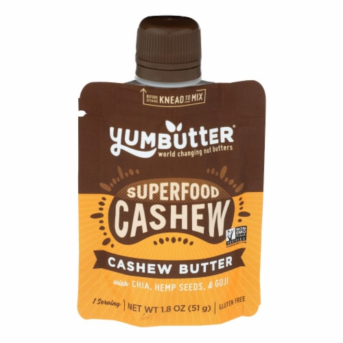 Yumbutter - Cashew Butter Superfood - Case of 10 - 1.8 OZ Perspective: front