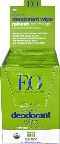 EO Essential Oil Products Organic Tea Tree Deodorant Wipes Perspective: front