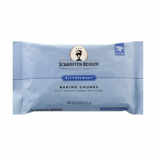 Scharffen Berger Bittersweet 70 Prcnt Cacao Fine Artisan Dark Choclt Baking Chunks-10Case-6oz Perspective: front
