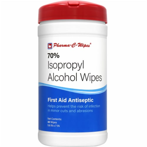 Pharma-C-Wipes 70% Isopropyl Alcohol Wipes - 40 CT (Case of 6) Perspective: front