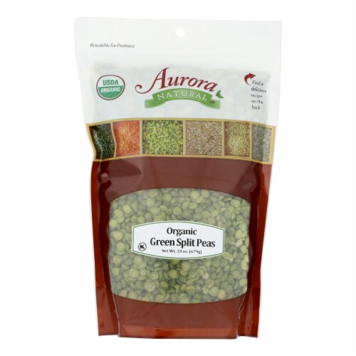 Aurora Natural Products - Organic Peas - Green Split - Case of 10 - 24 oz. Perspective: front