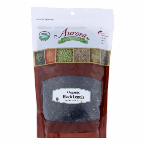 Aurora Natural Products - Organic Lentils - Black - Case of 10 - 22 oz. Perspective: front