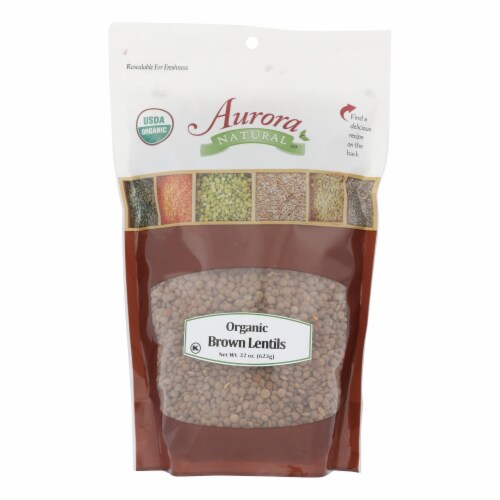 Aurora Natural Products - Organic Brown Lentils - Case of 10 - 22 oz. Perspective: front