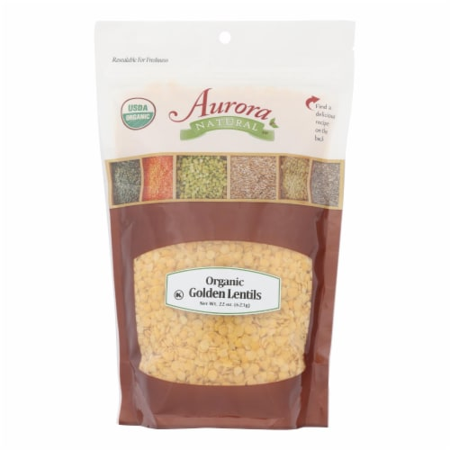 Aurora Natural Products - Organic Golden Lentils - Case of 10 - 22 oz. Perspective: front