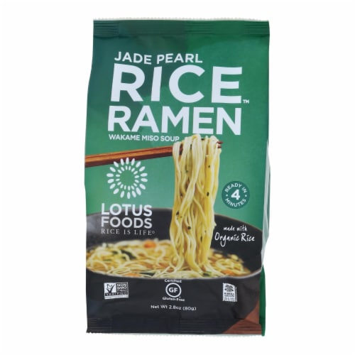 Lotus Foods Ramen - Organic - Jade Pearl Rice - with Miso Soup - 2.8 oz - case of 10 Perspective: front