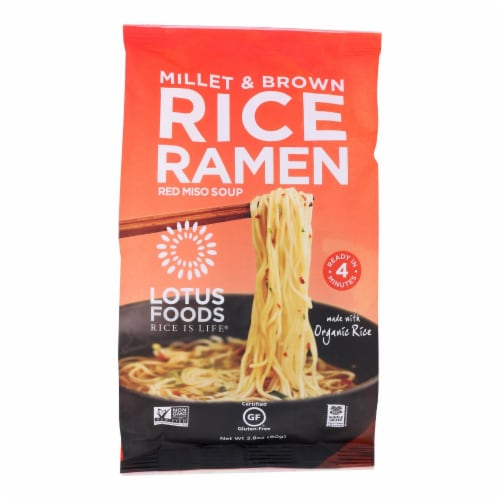 Lotus Foods Ramen - Organic - Millet and Brown Rice - with Miso Soup - 2.8 oz - case of 10 Perspective: front