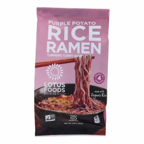 Lotus Foods Purple Potato and Brown Rice Ramen with Vegetable Soup - Case of 10 - 2.8 oz. Perspective: front