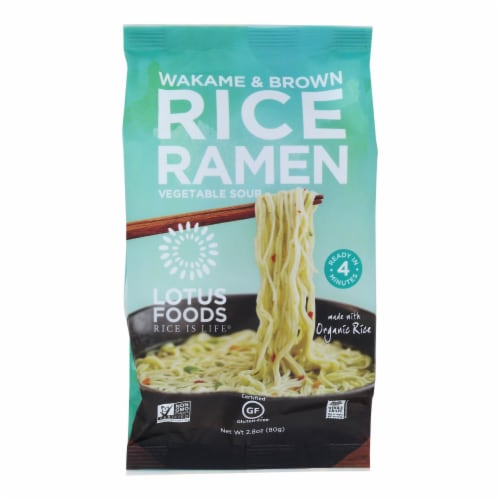 Lotus Foods Wakame and Brown Rice Ramen with Vegetable Soup - Case of 10 - 2.8 oz. Perspective: front