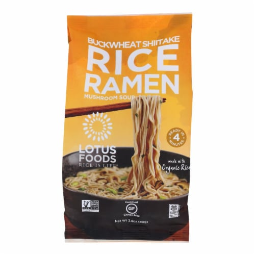 Lotus Foods Buckwheat Mushroom Brown Rice Ramen with Vegetable Soup - Case of 10 - 2.8 oz. Perspective: front