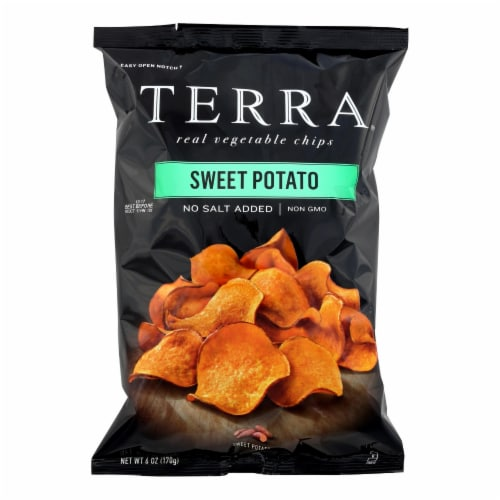 Terra Chips Sweet Potato Chips - Sweet Potato No Salt Added - Case of 12 - 6 oz. Perspective: front