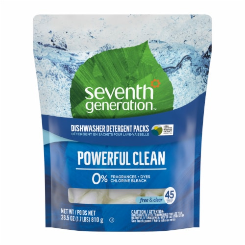 Seventh Generation Free & Clear Dishwasher Detergent Packs Perspective: front
