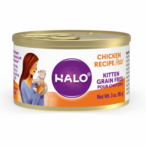HALO Grain Free Natural Kitten Chicken Recipe Wet Cat Food Perspective: front