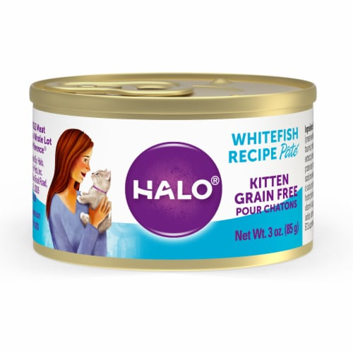 HALO Grain Free Natural Kitten Whitefish Recipe Wet Cat Food Perspective: front