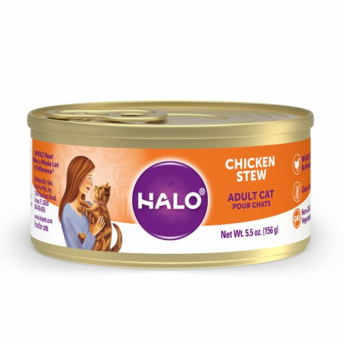 HALO Grain Free Natural Chicken Stew Wet Cat Food Perspective: front