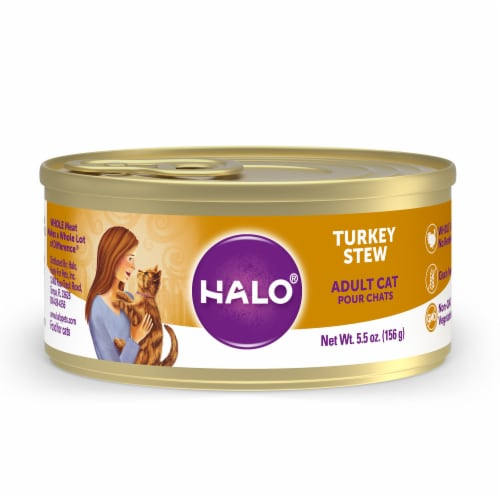 Halo Grain Free Natural Turkey Stew Wet Cat Food Perspective: front