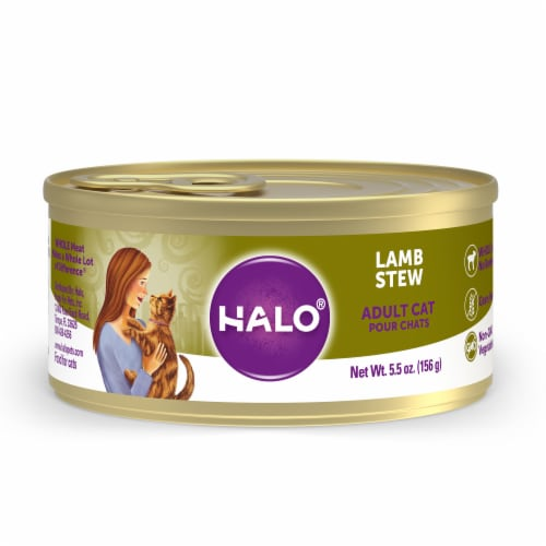 HALO Grain Free Natural Lamb Stew Wet Cat Food Perspective: front