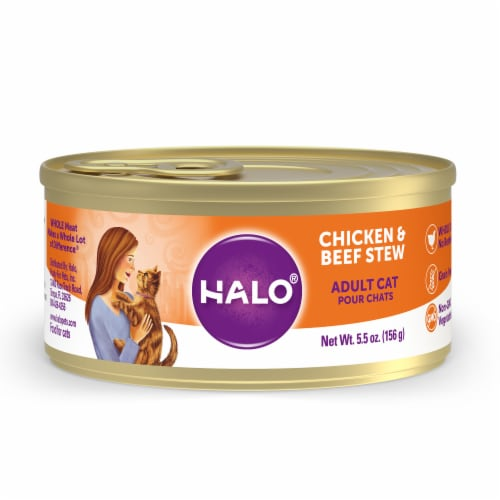 HALO Grain Free Natural Chicken & Beef Stew Wet Cat Food Perspective: front