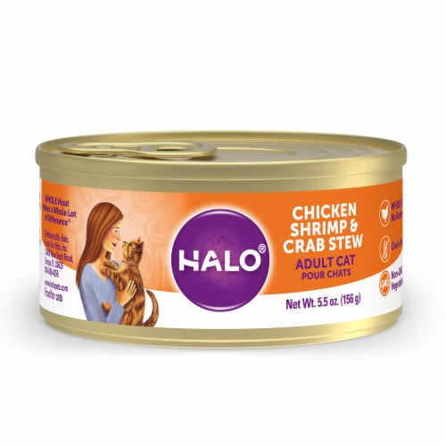 Halo Grain Free Natural Chicken Shrimp & Crab Stew Wet Cat Food Perspective: front