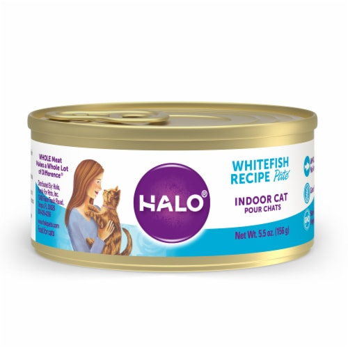 Halo Grain Free Natural Indoor Whitefish Recipe Wet Cat Food Perspective: front