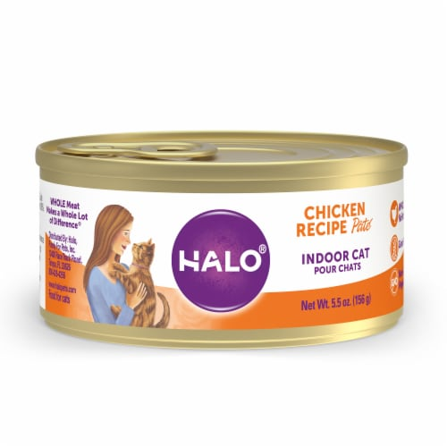 Halo Grain Free Natural Indoor Chicken Recipe Wet Cat Food Perspective: front