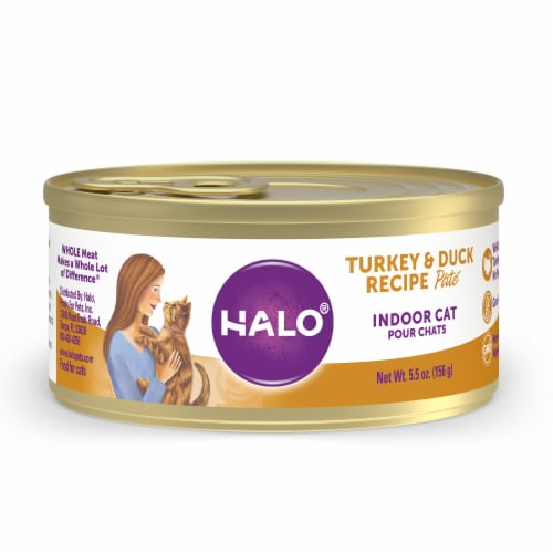 Halo Turkey & Duck Grain Free Natural Indoor Wet Cat Food Perspective: front
