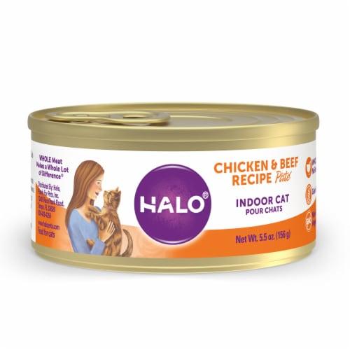 HALO Grain Free Natural Indoor Chicken & Beef Recipe Wet Cat Food Perspective: front