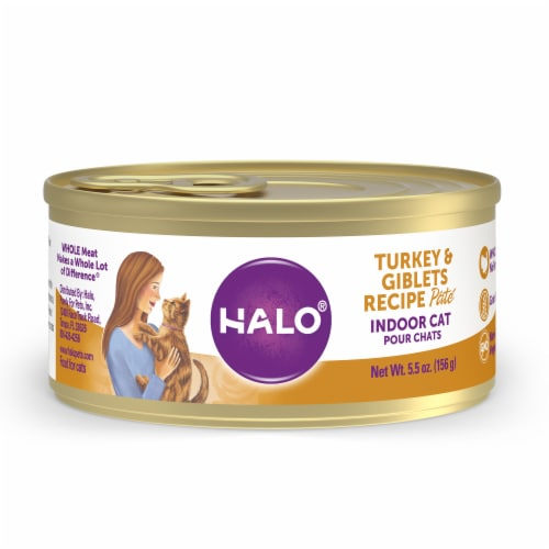 HALO Grain Free Natural Indoor Turkey & Giblets Recipe Wet Cat Food Perspective: front