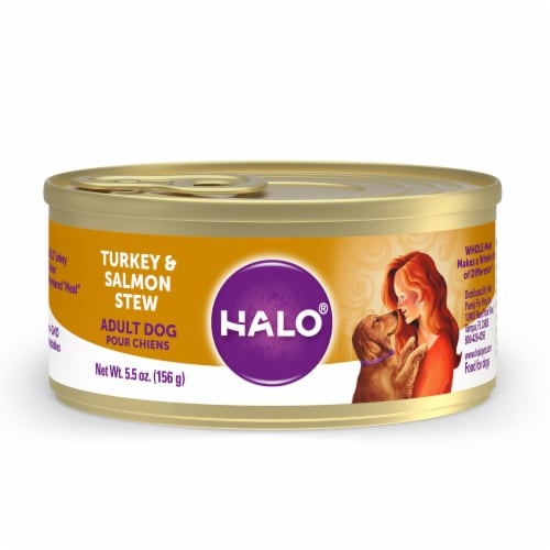 HALO Natural Turkey & Salmon Stew Wet Dog Food Perspective: front