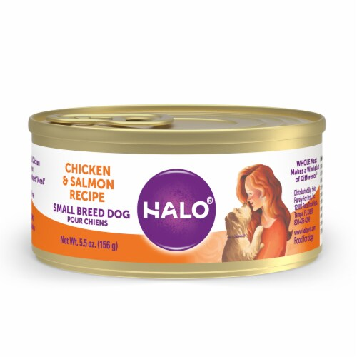 HALO Grain Free Natural Small Breed Chicken & Salmon Recipe Wet Dog Food Perspective: front