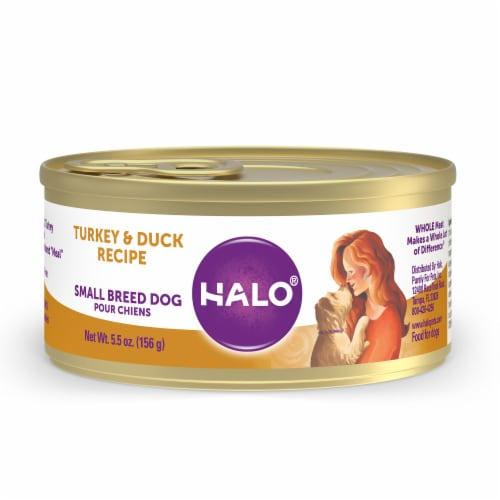 Halo Grain Free Natural Small Breed Turkey & Duck Recipe Wet Dog Food Perspective: front