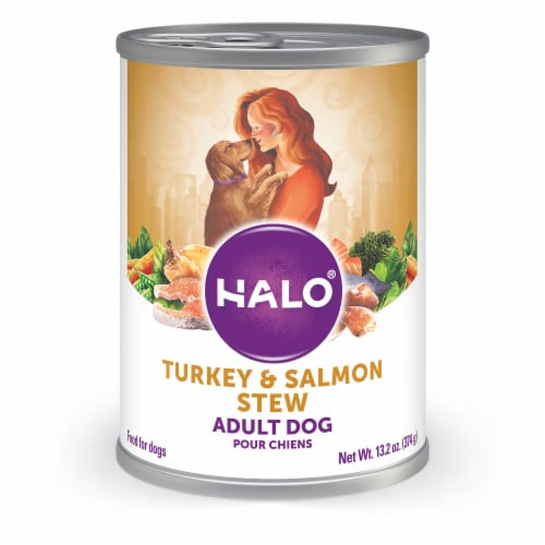 HALO Turkey & Salmon Stew Natural Wet Dog Food Perspective: front