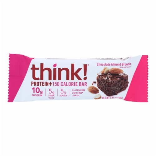 Think Products thinkThin Bar - Lean Protein Fiber - Chocolate Almond - 1.41 oz - 1 Case Perspective: front