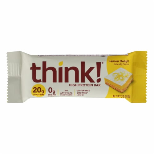 Think Products High Protein Bar - Lemon Delight - Case of 10 - 2.1 oz. Perspective: front